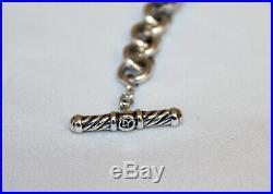 DY DAVID YURMAN 925 Sterling Silver + 18K Gold Cable Link Heart Charm Bracelet