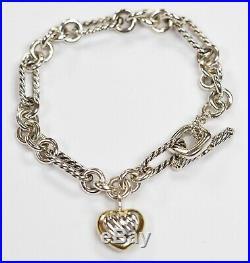 David Yurman 18k & Sterling Silver Heart Charm Bracelet 7.25