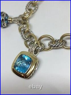 David Yurman 25th Anniversary Charm Bracelet Blue Topaz Diamond 18k Gold Silver