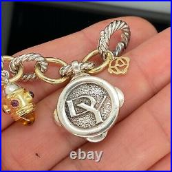 David Yurman 25th Anniversary Charm Bracelet Citrine Diamond 18k Gold Silver