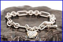 David Yurman 925 Sterling Silver 18k Gold Figaro Heart Charm Bracelet, 7.5
