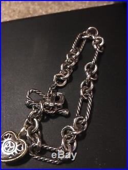 David Yurman Cable Link Bracelet Sterling Silver Heart Charm 18k / Sterling