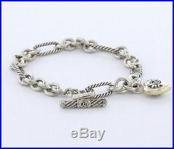 David Yurman Sterling Silver & 18K Gold Figaro Cable & Heart Charm Bracelet