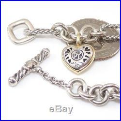 David Yurman Sterling Silver 18K Yellow Gold Cable Heart Charm Bracelet 7.5