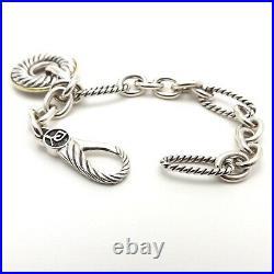 David Yurman Sterling Silver 18k Gold Figaro Link Circle Charm Bracelet