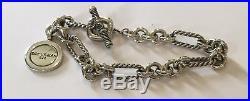 David Yurman Sterling Silver 925 Figaro Chain Link Bracelet Charm 7 1/4 Long