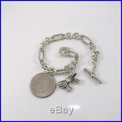 David Yurman Sterling Silver Ribbon Bow Charm Chain Link Bracelet 7.25' LFA2