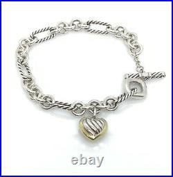 David Yurman sterling silver & 18k gold Heart Charm Toggle Bracelet 7 DY223