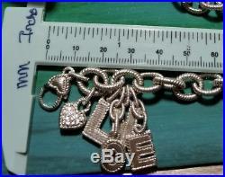 Designer Judith Ripka Sterling silver rolo link chain LOVE charm Bracelet RARE