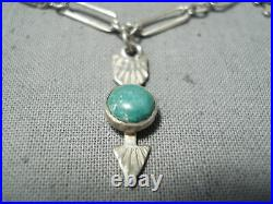 Early 1900's Vintage Navajo Turquoise Sterling Silver Charm Link Bracelet