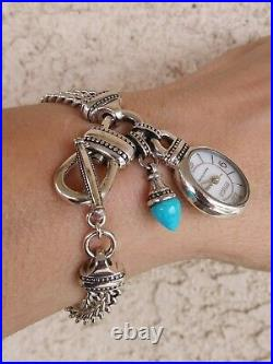 Ecclissi Sterling Silver Bracelet Watch WithTurquoise Charm MOP Toggle New Batt