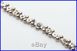 Estate 3ct Blue Sapphire Ruby Emerald Pearl Sterling Silver SLIDE CHARM Bracelet
