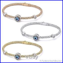 Evil Eye Nazar Greek Hamsa Charm 0.26ct Diamond Sterling Silver Bangle Bracelet