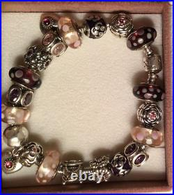 Full Authentic Pandora Charm Bracelet 8 with 21 Sterling Silver 925 ALE Charms