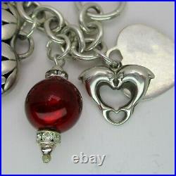 Fully Loaded PUFFY HEART Lockets 7 Sterling Silver OOAK Charm Bracelet 58 GRAM