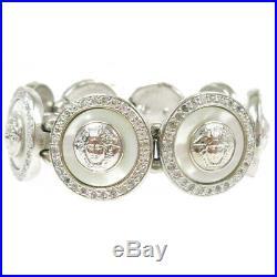 GIANNI VERSACE Medusa Charm Motif Rhinestone Silver Bracelet Bangle AK39689