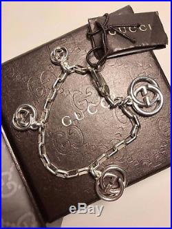 GUCCI Authentic Interlocking Silver GG Charm Bracelet, New with Tags Box Dust Bag