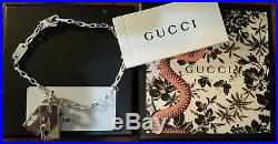 GUCCI Double G Tag Pendant Charm Sterling Silver Bracelet Link Chain 7