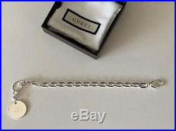 GUCCI New in Box Women's Sterling Silver Bracelet with Gucci Charm Made in Italy