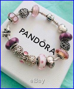 Genuine 925 Silver Pandora Bracelet With 14 Charms + Box 19 cm