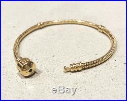 Genuine PANDORA Barrel Clasp Charm Bracelet 14K Gold Vermeil Plated 590702HV