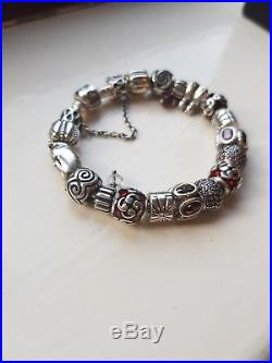 Genuine PANDORA Silver Bracelet with charms