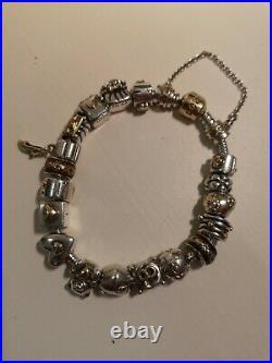 Genuine Pandora 14ct Gold Clasp Silver Charm Bracelet 18 Charms. Rare/retired
