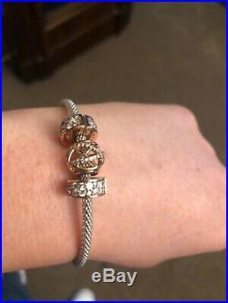 Genuine Pandora, 925 sterling silver Mesh bracelet, Size 17cm with charms