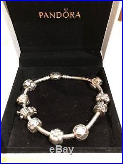 ec83c3d579d Genuine Pandora Silver Bracelet Heart Clasp 7 Charms 2 Clip Charms ...