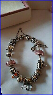 Genuine Pandora Silver Charm Bracelet Complete with Charms