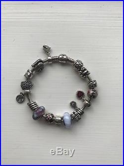 Genuine Pandora Silver Charm Bracelet With Charms