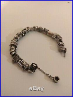 Genuine Silver Pandora Bracelet With 21 Charms & Safety Chain Used, Great Cond