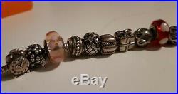 Genuine Silver Pandora Bracelet with 17 Pandora Charms, 19cm, Worth £190