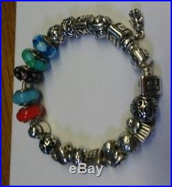 Genuine Silver Pandora Bracelet, with 20 Charms, Beads, & Spacers