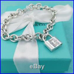 Genuine Tiffany & Co Silver 1837 Padlock Charm Bracelet 7.75 VG Condition