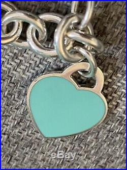 Genuine Tiffany & Co Silver 925 Blue Enamel Heart Charm Bracelet T&Co