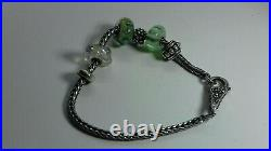 Genuine Trollbeads Silver 925 Bracelet LAA floral clasp with charms