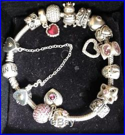 Genuine silver Pandora bracelet with charms & safety chain