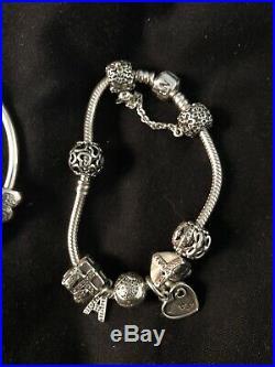 Genuine silver pandora bracelet with charms