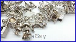 Georg Jensen Heavy Sterling Silver Charm Bracelet & 35 Charms 93 grams