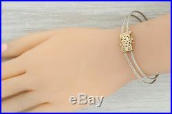 Goldman Kolber Slide Charm Bracelet 14k Gold Sterling Silver 8 Flower Clasp