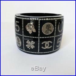 Gorgeous 14c Chanel Black Silver Charm Pearl Crystal Wide Cuff Bracelet