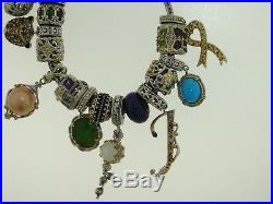 Gorgeous Gems En Vogue Sterling Silver Multi-gemstone Charm 8-inch Bracelet