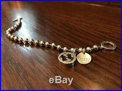 Gucci Boule Silver Beaded Bracelet With Gucci Charm