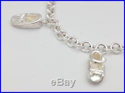 Gucci Sterling Silver 6 Baby Slipper Hat Bear Shoe Charms Chain Link Bracelet