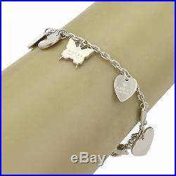 Gucci Sterling Silver 6 Dangle Charms Chain Bracelet Heart Butterfly Logo Charm