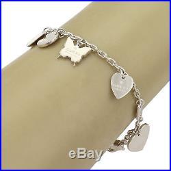 Gucci Sterling Silver 6 Dangle Logo Charms Chain Bracelet I LOVE IT