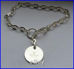 Gucci Sterling Silver Round Circle Tag Charm Bracelet