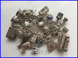 HEAVY Vintage Sterling Silver Charm Bracelet 26 Charms 100g total 1960s 60s