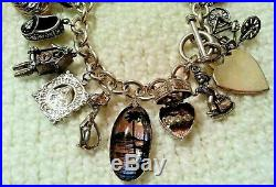 HEAVY Vintage Sterling Silver Chunky Charm Bracelet & Charms, 110.8 gr, Movers